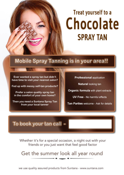 A5 Mobile Spray Tanning Leaflets - white/ brown